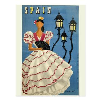 Postal del viaje del vintage de ESPAÑA