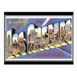 Postal del viaje del vintage de Los Ángeles
