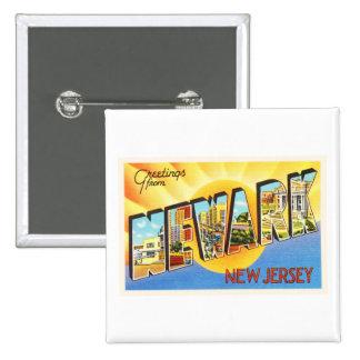 Postal del viaje del vintage de Newark New Jersey Pin Cuadrado