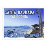 Postal del viaje del vintage de Santa Barbara