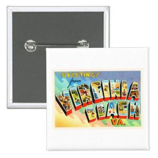 Postal del viaje del vintage de Virginia Beach Pin Cuadrado