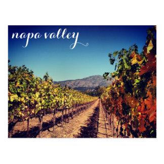 Postal del viñedo de la cosecha del otoño de Napa