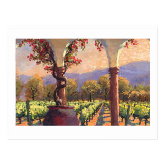 Postal del viñedo del vino