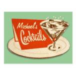 Postal del vintage - cócteles del vidrio de Martin