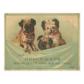 Postal del vintage con los perros lindos del libro