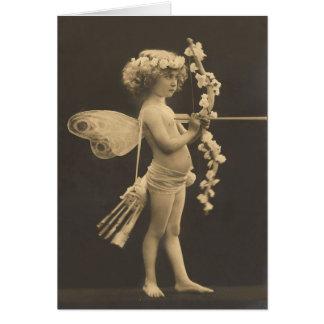 Postal del vintage - Cupid de la niña Tarjeta De Felicitación