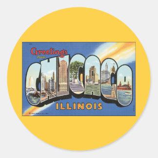 Postal del vintage de Chicago Illinois Pegatina Redonda