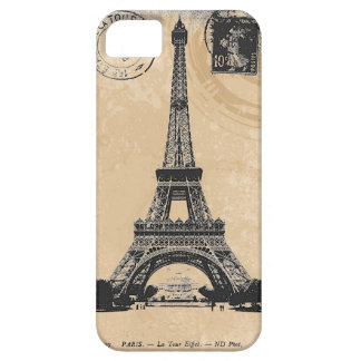Postal del vintage de Eiffel de la torre del La de iPhone 5 Case-Mate Cobertura