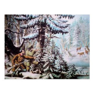 Postal del vintage de la caza de los ciervos