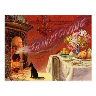 Postal del vintage de la cena de la acción de grac