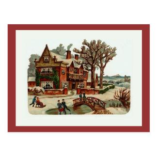 """""""Postal del vintage de la escena del navidad"""" Postales"""