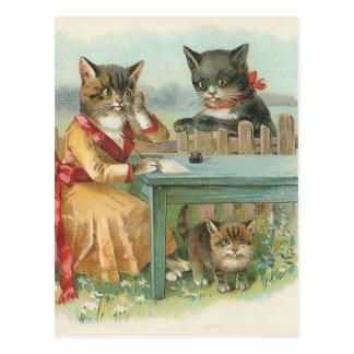 """Postal del vintage """"de la familia de gato"""""""