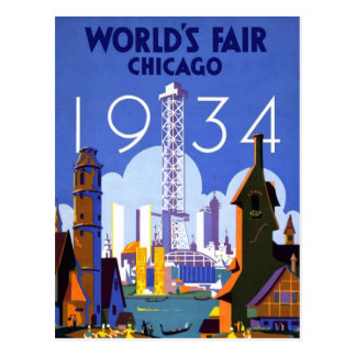 Postal del vintage de la feria de mundo de Chicago