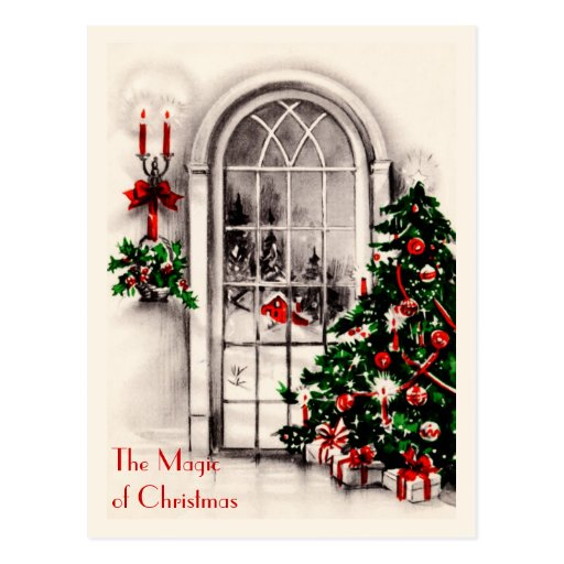 Postal del vintage de la ventana del navidad