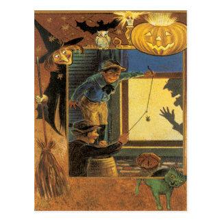 Postal del vintage de los bromistas de Halloween