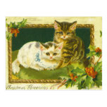Postal del vintage de los gatitos del navidad