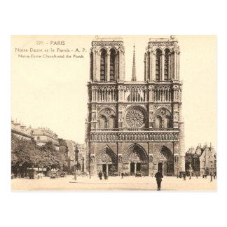 Postal del vintage de Notre Dame en París