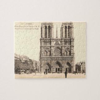 Postal del vintage de Notre Dame en París Puzzles Con Fotos