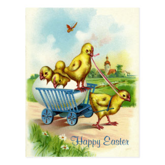 Postal del vintage de Pascua del carro de Chicky