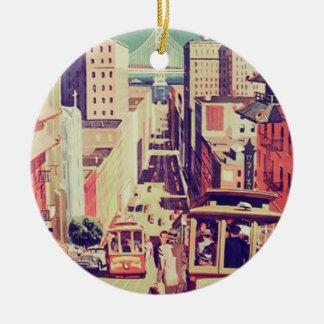 Postal del vintage de San Francisco Ornamentos De Reyes Magos