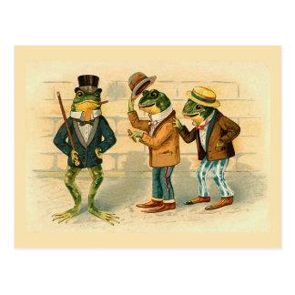 """Postal del vintage de """"tres ranas sociables"""""""