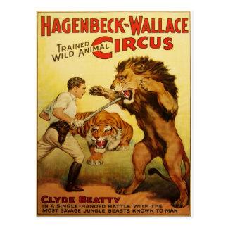 Postal del vintage del circo de Hagenbeck