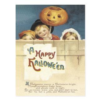 Postal del vintage del feliz Halloween
