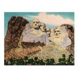 Postal del vintage del monte Rushmore