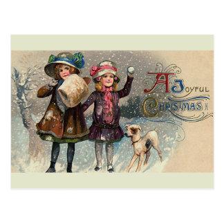"""""""Postal del vintage del navidad alegre"""" Postales"""