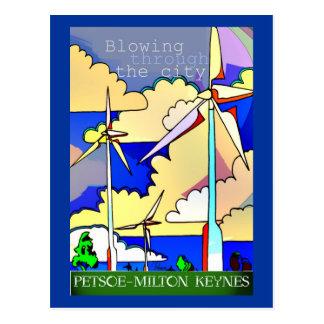 Postal del vintage del parque eólico de Petsoe