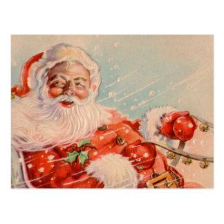 Postal del vintage del paseo del trineo de Santas