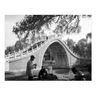 Postal del vintage del puente del palacio de