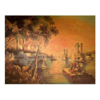 Postal del vintage del río Misisipi
