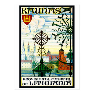 Postal del vintage para Kaunas, Lituania