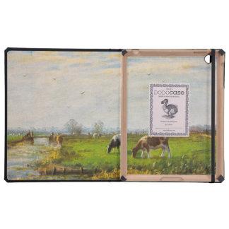 Postal del vintage, pastando vacas, granja