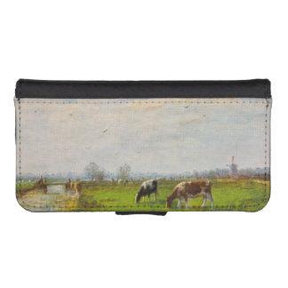 Postal del vintage, pastando vacas, granja billetera para iPhone 5