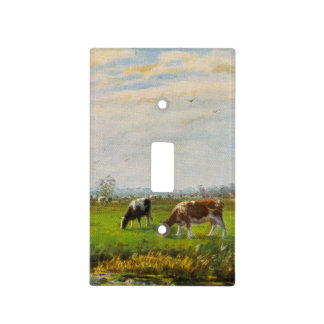Postal del vintage, pastando vacas, granja cubierta para interruptor