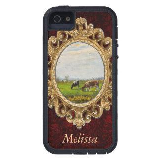 Postal del vintage, pastando vacas, granja iPhone 5 Case-Mate cárcasas