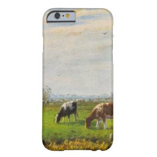 Postal del vintage, pastando vacas, granja funda de iPhone 6 barely there