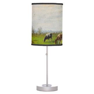 Postal del vintage, pastando vacas, granja lámpara de mesa