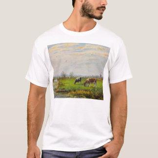 Postal del vintage, pastando vacas, granja playera