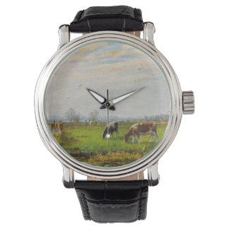 Postal del vintage, pastando vacas, granja relojes