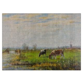 Postal del vintage, pastando vacas, granja tablas de cortar