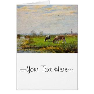 Postal del vintage, pastando vacas, granja tarjeta de felicitación