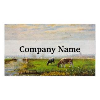 Postal del vintage, pastando vacas, granja tarjetas de visita