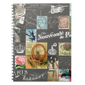 Postal del vintage y collage franceses de los libro de apuntes con espiral