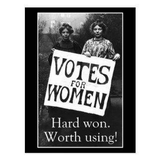 Postal del voto de la vintage mujer
