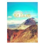 Postal del vulcano de la montaña de Nueva Zelanda