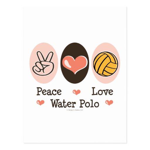 Postal del water polo del amor de la paz