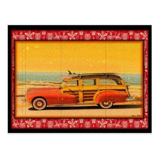 postal del woodie de la resaca del vintage